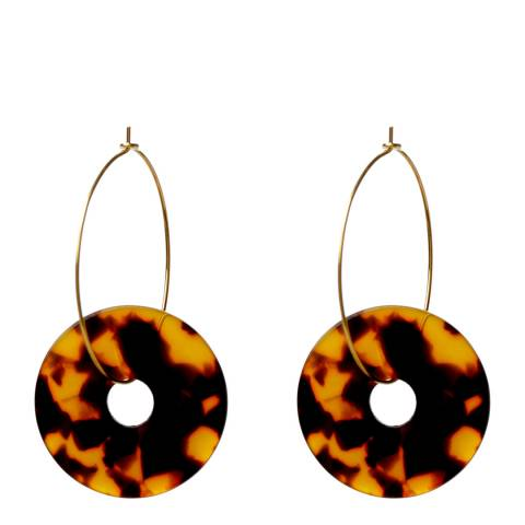 Amrita Singh Gold / Brown Resin Disc Hoop Earrings