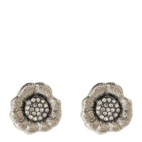 Amrita Singh Silver Plated Crystal Flower Earrings
