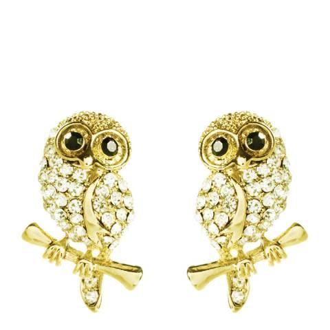 Amrita Singh Gold Baby Owl Crystal Stud Earrings