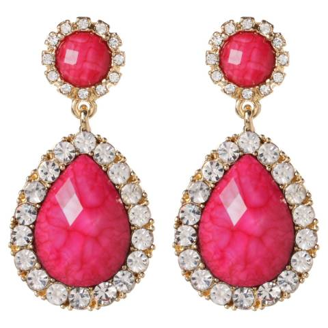 Amrita Singh Gold / Fuchsia Evening Chandelier Earrings