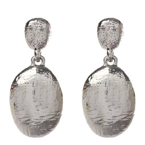 Amrita Singh Silver Two-Tier Drop Hammered Earrings