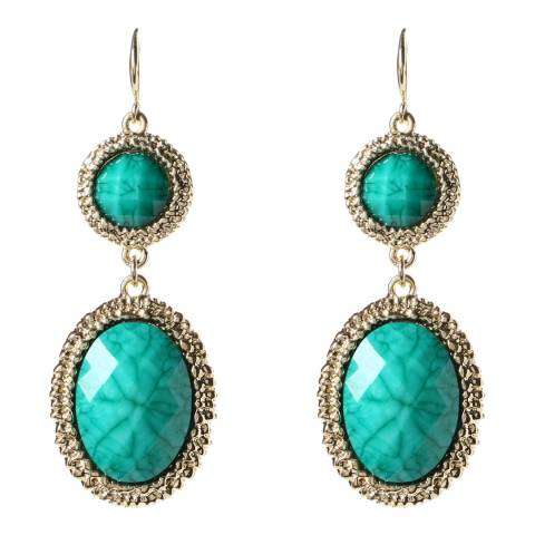 Amrita Singh Gold / Turquoise Hammered Resin Stone Drop Earrings