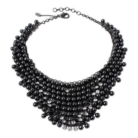 Amrita Singh Gunmetal Metallic Resin Stone Bib Necklace