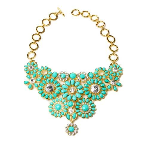 Amrita Singh Gold / Turquoise Stone Bib Necklace