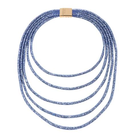 Amrita Singh Blue Multi-Layered Crystal Mesh Necklace