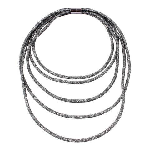 Amrita Singh Gunmetal Multi-Layered Crystal Mesh Necklace