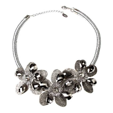 Amrita Singh Silver Floral Glass Beaded Necklace