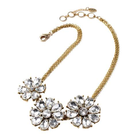 Amrita Singh Gold Crystal Flower Encrusted Necklace