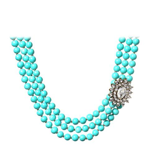 Amrita Singh Turquoise Three Strand Embellished Necklace