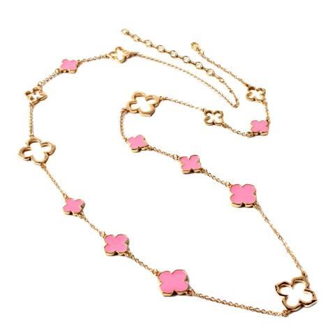 Amrita Singh Gold / Pink Clover Enamel Necklace