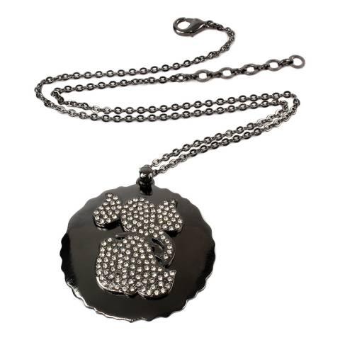 Amrita Singh Gunmetal Crystal Elephant Necklace