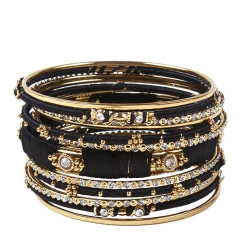 Amrita Singh Gold / Black Embellished 13 Piece Mixed Bangle Set