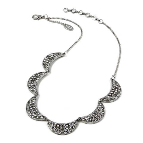 Amrita Singh Silver Multi-Half Moon Crystal Necklace