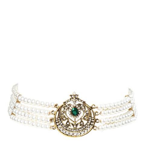 Amrita Singh Gold Multi-strand Glass Pearl Choker