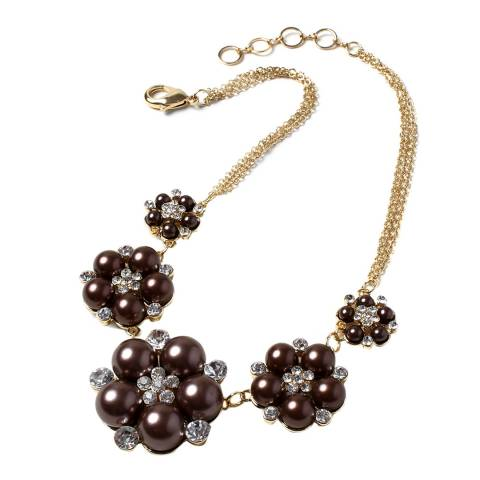 Amrita Singh Gold / Brown Glass Beaded Flower Necklace