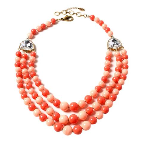 Amrita Singh Peach / Coral Multi-Strand Glass Beaded Necklace