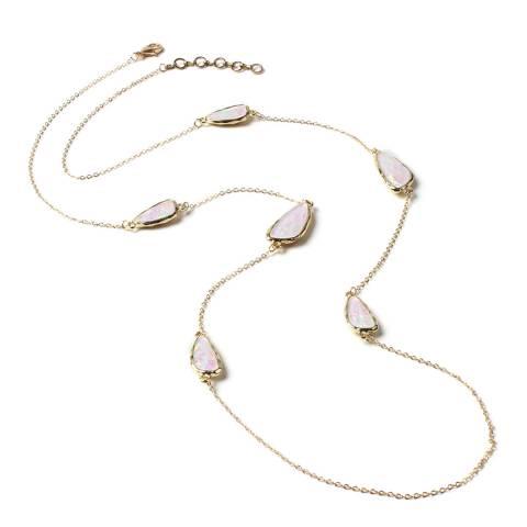Amrita Singh Gold / Moonstone Resin Stone Embellished Station Necklace
