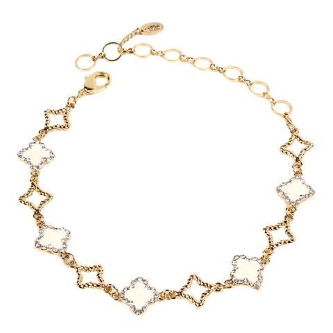 Amrita Singh Gold / Ivory Enamel Clover Crystal Choker Necklace