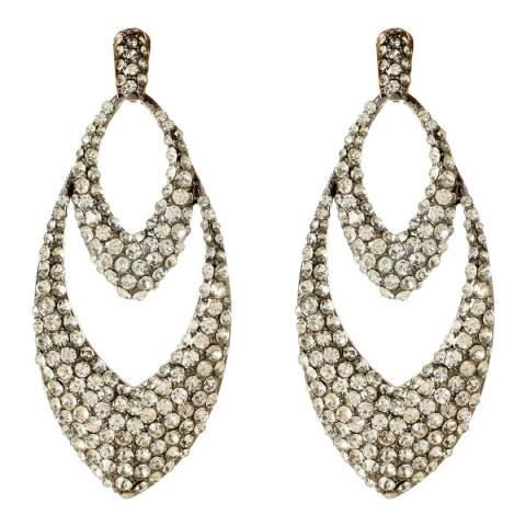 Amrita Singh Gunmetal Crystal Chandelier Earrings