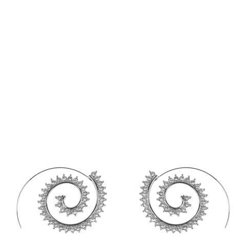 Amrita Singh Silver Hoop Swirl  Crystal Earrings