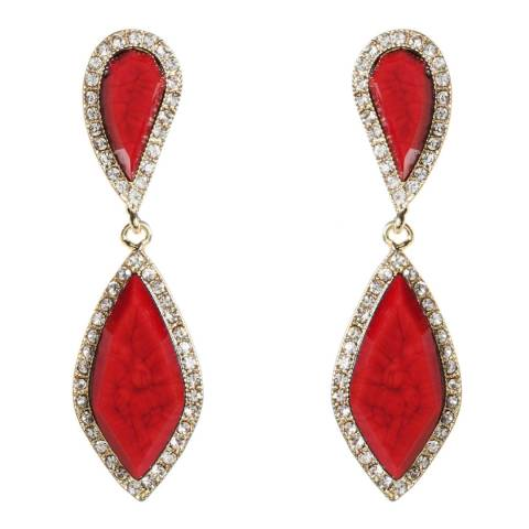 Amrita Singh Gold / Ruby Hampton Classic Two-Tier Drop Earrings