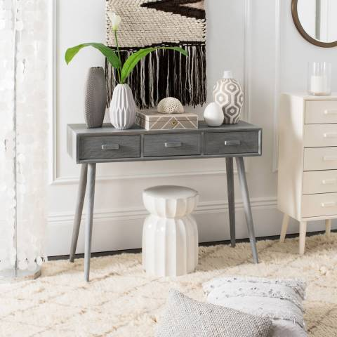 Safavieh Todd 3 Drawer Console Table, Slate Grey