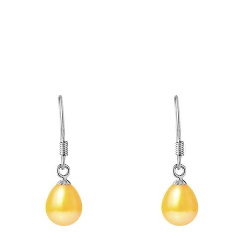 Just Pearl Silver Yellow Pearl Drop Earrings 6-7mm