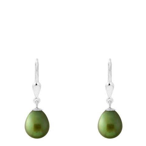 Just Pearl Silver Green Pearl Earrings 6-7mm