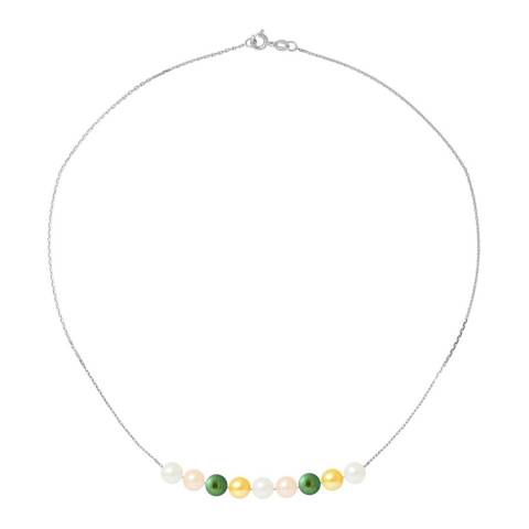 Just Pearl Green/Silver/White Pearl Necklace