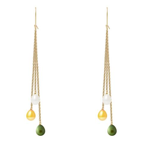 Just Pearl Golden/green Yellow Pearl Earrings 6-7mm