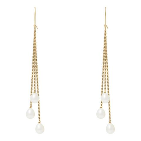 Just Pearl White/Gold Earrings 6-7mm