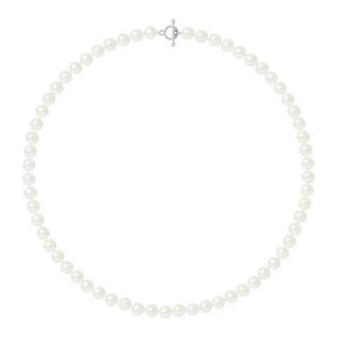 Mitzuko White Row Of Pearls Necklace 4-5mm