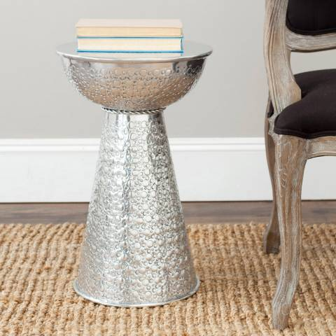 Safavieh Jhasmin Textured Stool, Silver