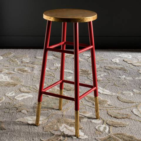 Safavieh Lugo Bar Stool  Red / Gold