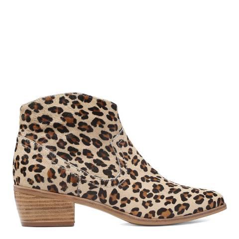Laycuna London Calf Hair Leopard Print Ankle Boots