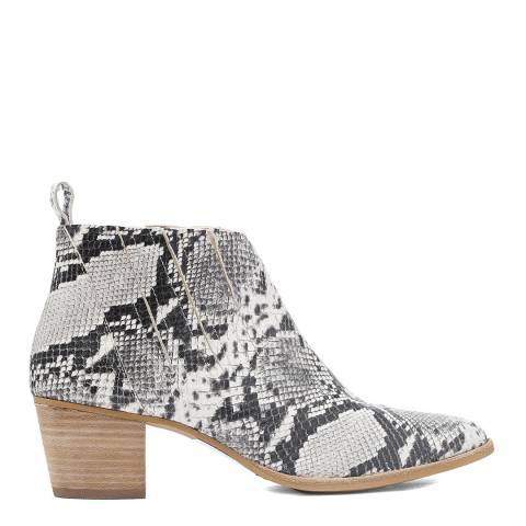 Laycuna London Snake Print Leather Spanish Ankle Boots