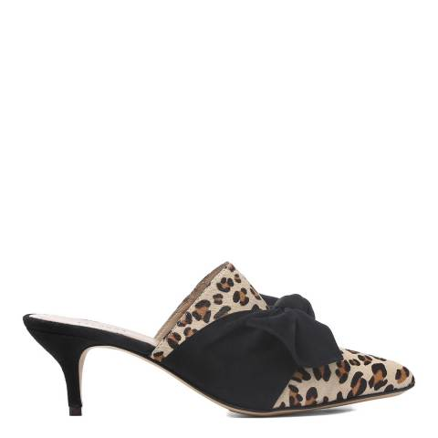 Laycuna London Leopard Print Leather Heels