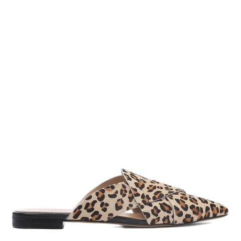 Laycuna London Leopard Print Leather Slip Ons