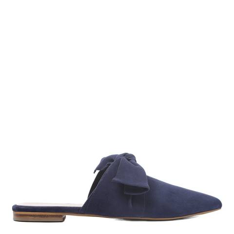 Laycuna London Navy Suede Bow Spanish Slip Ons