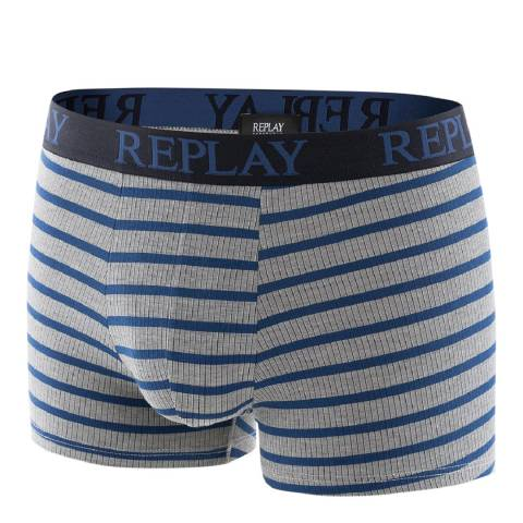 Replay Grey/Blue Stripe Stretch Cotton Boxer Shorts