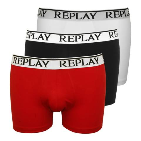 Replay Red Multi 3 Pack Stretch Cotton Boxer Shorts