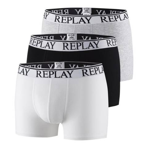 Replay White Multi 3 Pack Stretch Cotton Boxer Shorts
