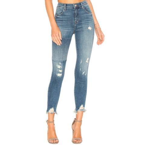 J Brand Blue Wash Alana High Rise Crop Skinny Stretch Jeans