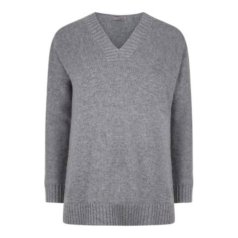 Jaeger Grey V Neck Cashmere Blend Jumper