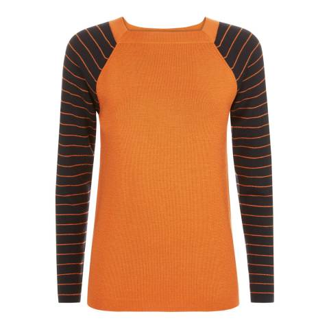 Jaeger Orange Stripe Sleeve Wool Jumper