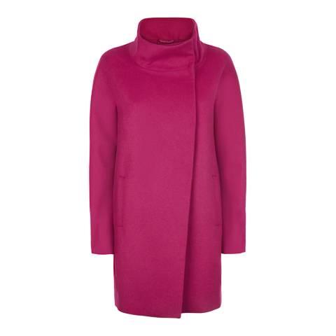 Jaeger Hot Pink Funnel Wool Blend Cocoon Coat