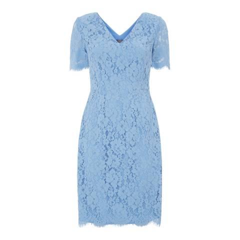 Jaeger Blue V Neck Scallop Lace Dress