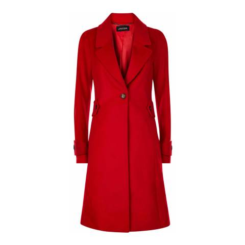 Jaeger Red Wool Button Waist Fitted Wool Coat
