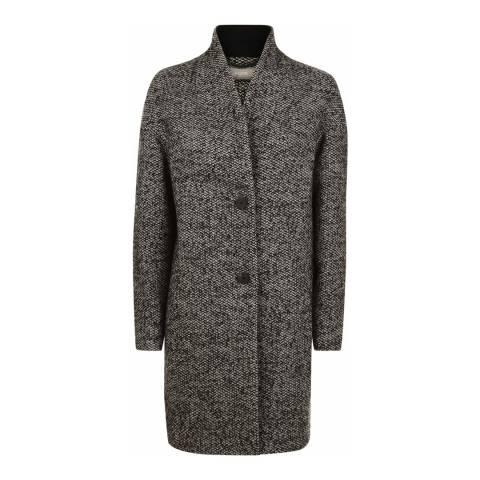 Jaeger Black/Cream Salt and Pepper Tweed Coat