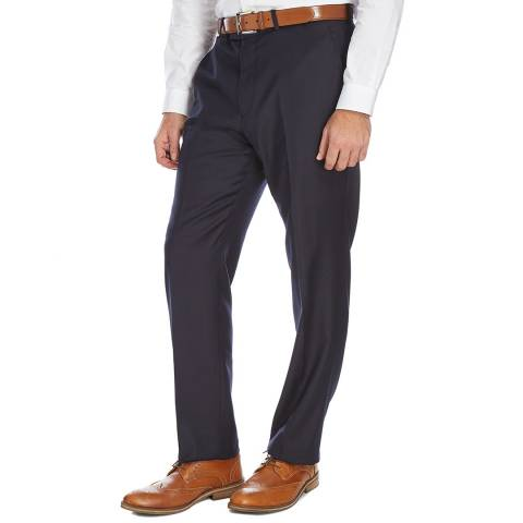 Jaeger Navy Regular Flannel Wool Trousers